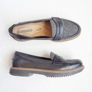 Clarks Collection Tweed Loafer Black Grey Black 6